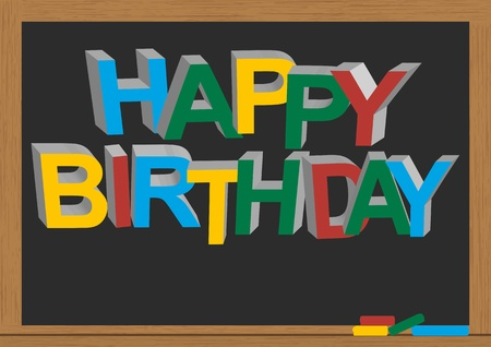 illustration of happy birthday text in chalkboard  Stock Vector - 12230495
