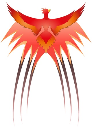 colourful fire: illustration of red phoenix with flames Illustration