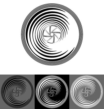 objetivo: ilustración de la lente de la cámara estilizada con el obturador Vectores