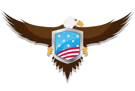 falconidae: illustration of united of states shield with eagle
