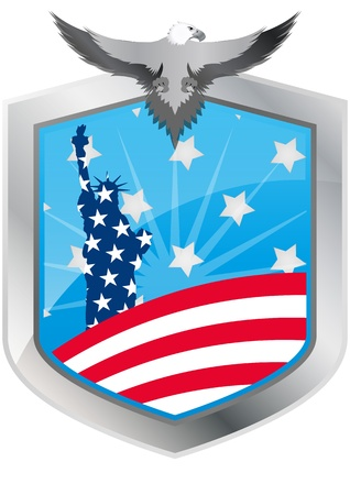 illustration of emblem usa with statue of liberty and eagle Vector