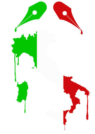 nib: illustration of italy flag with ink of nib