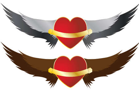 illustration of red heart with pair of wings Vector