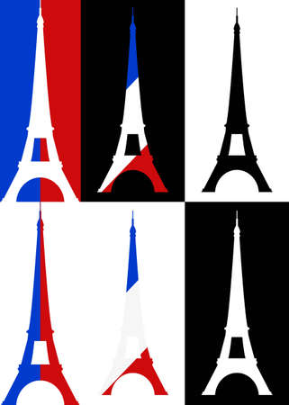 set illustration of tour eiffel silhouette  Vector