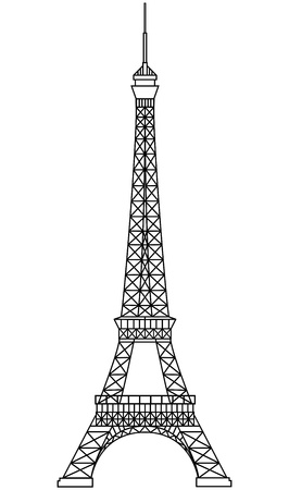 illustration of tour eiffel in black wireframe Vector