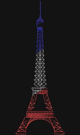 illustration of tour eiffel in color wireframe Vector