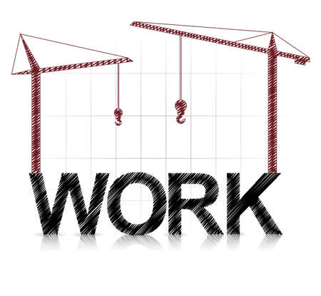 heavy construction: illustration of work text with cranes