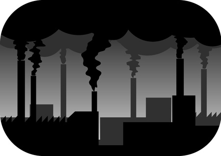 toxic cloud: illustration of industry plant with pollution Illustration