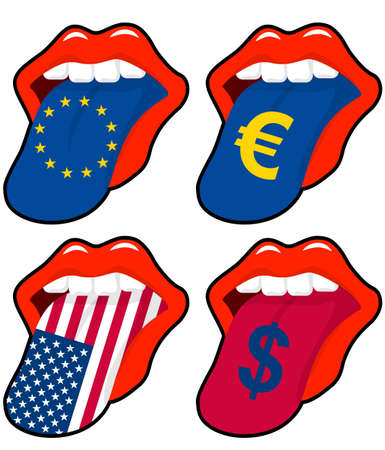 illustration of mouth with european and american money symbol Vector