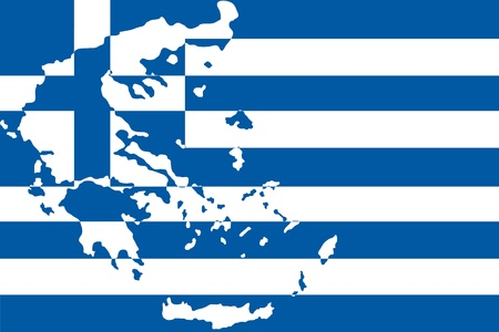 illustration of greece flag with map  Vector