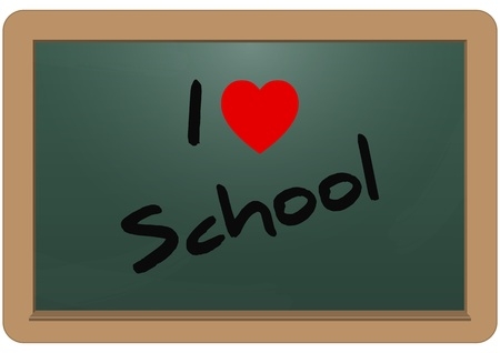 illustration of i love school text on the chalkboard Stock Vector - 12759361