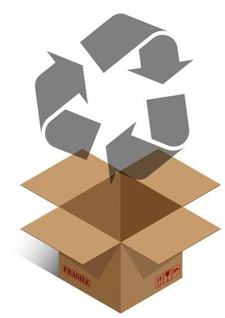 brown box: illustratore della scatola marrone con ricicla il simbolo