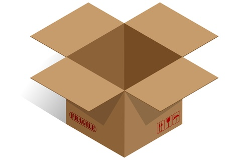 illustrator of brown box with red symbols