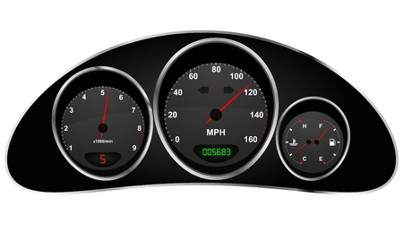 mph: illustration of dashboard of car Illustration