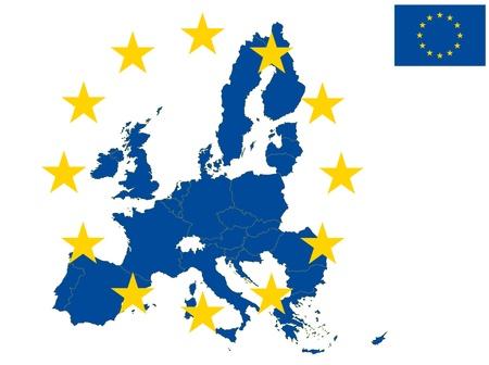 illustratie van europa kaart, vanaf 2013 jaar met kroatië Stock Illustratie