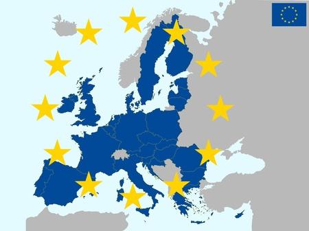 carte europe: illustration de l'Europe la carte, � partir de 2013 ans avec la Croatie Illustration