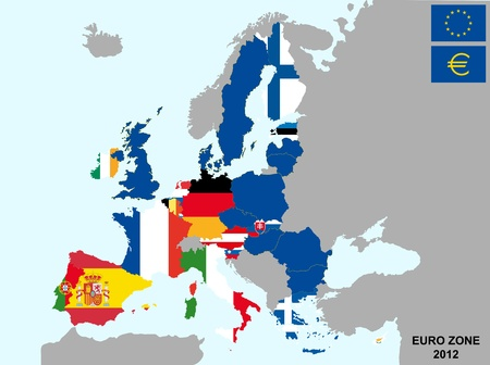 illustration of euro zone map with flags, 2012 year  Vector