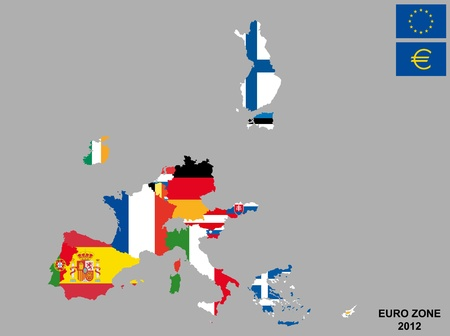 comunity: illustration of euro zone map with flags, 2012 year  Illustration