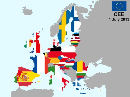 illustration of european union map with flags, from 1 july 2013 Vector