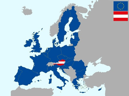 illustration of europe map with flag of austria, from 1 july 2013 Vector