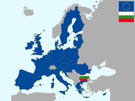 illustration of europe map with flag of bulgaria, from 1 july 2013 Vector