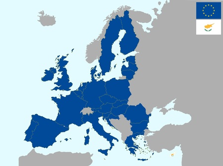illustration of europe map with flag of cyprus, from 1 july 2013 Vector