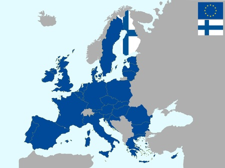 illustration of europe map with flag of finland, from 1 july 2013 Vector