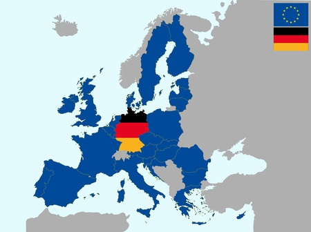 illustration of europe map with flag of germany, from 1 july 2013