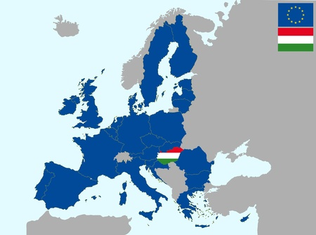 illustration of europe map with flag of hungary, from 1 july 2013 Vector