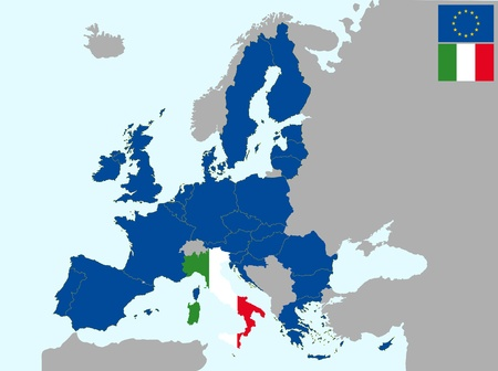 illustration of europe map with flag of italy, from 1 july 2013 Vector