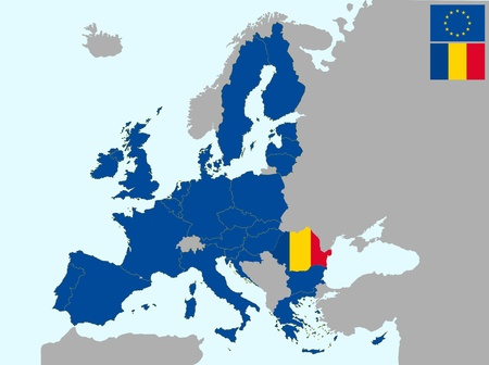 romania: illustration of europe map with flag of romania, from 1 july 2013 Illustration