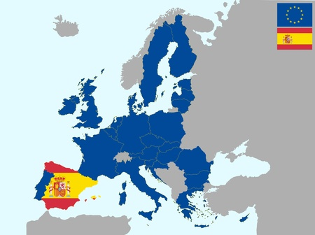 illustration of europe map with flag of spain, from 1 july 2013 Vector