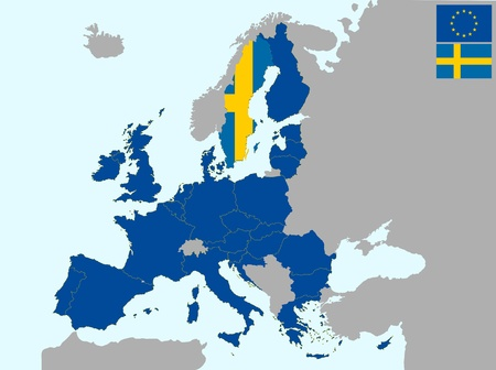 illustration of europe map with flag of sweden, from 1 july 2013 Vector