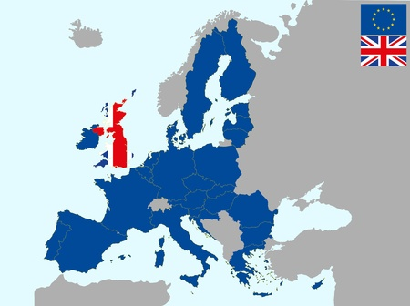 illustration of europe map with flag of united kingdom, from 1 july 2013 Vector