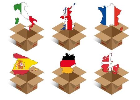 establece la ilustración de la caja con la forma de las naciones