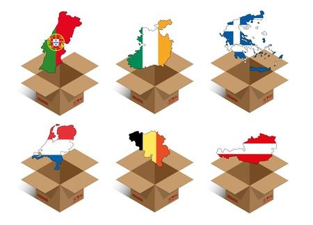 forwarding: set illustration of box with shape of nations