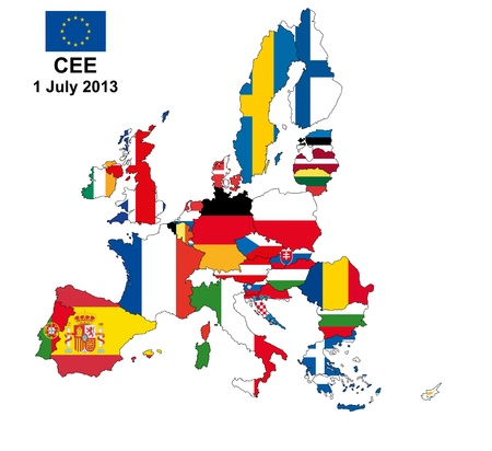 illustration of european union map with flags, from 1 july 2013