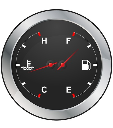 dashboard car: illustration of fuel and temperature control of dashboard car Illustration
