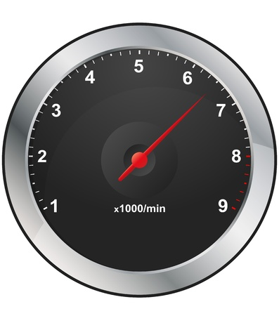 rev counter: illustration of rev counter with red indicator