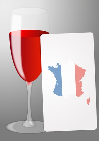 french produce: illustration of list red wine with france shape
