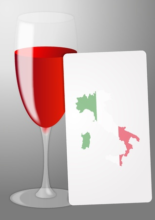 illustration of list red wine  with italy shape Vector