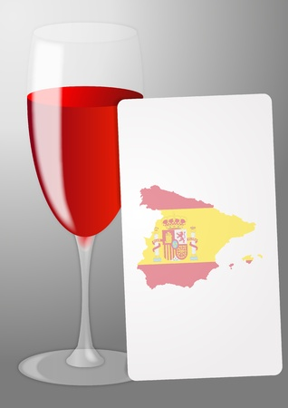 illustration of list red wine with spain shape Stock Illustratie