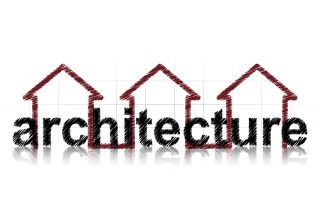 architecture logo: illustration of architecture text with three houses