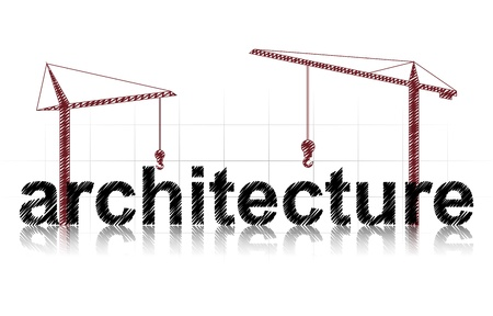 illustration of architecture text, with two red cranes