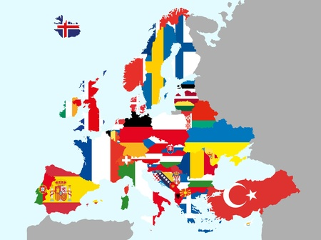european union: illustration of europe map with flags