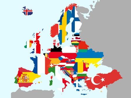 evropský: ilustrace Mapa Evropy s vlajkami Ilustrace