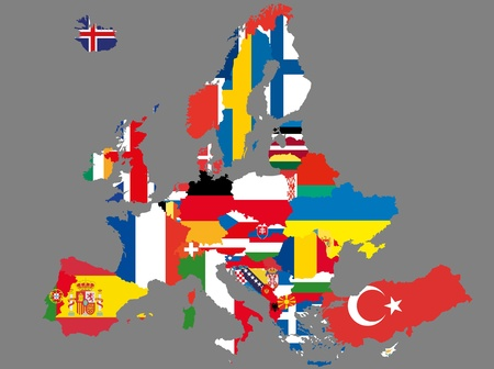 illustratie van europa kaart met vlaggen
