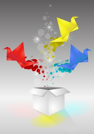 illustration of open book with color bird origami  Vector