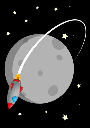 luna: illustration of rocket and moon with stars in background
