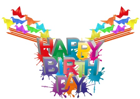 illustration of happy birthday text with color bird origami Vector